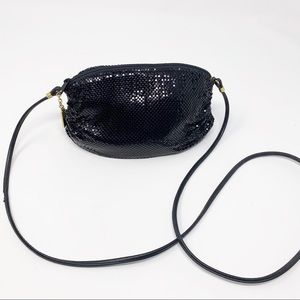 WHITING & DAVID black metal mesh purse